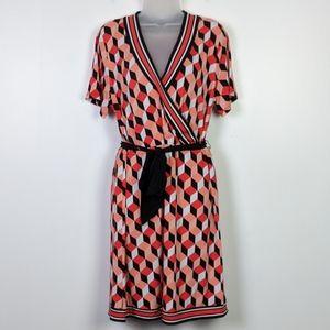 MICHAEL Michael Kors Geo Print Wrap Dress NWT